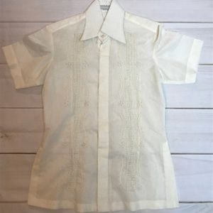 Vtg Men's Mexican Short Sleeve Wedding Shirt
